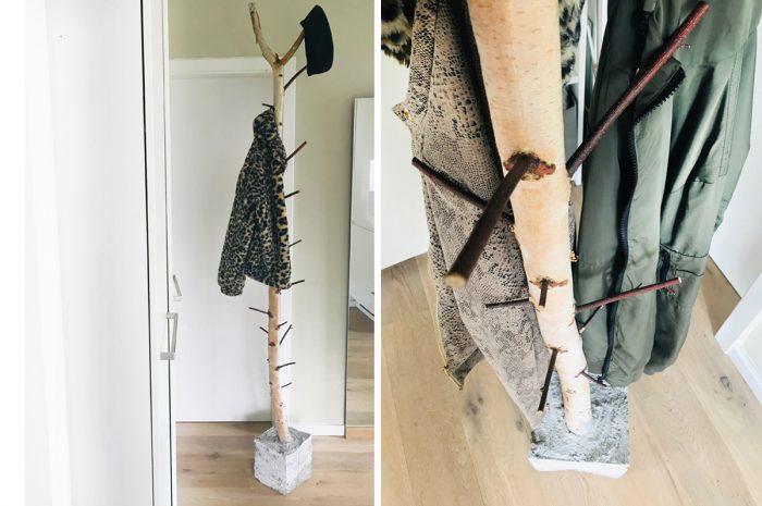 DIY- Garderobe mit Birkenstamm